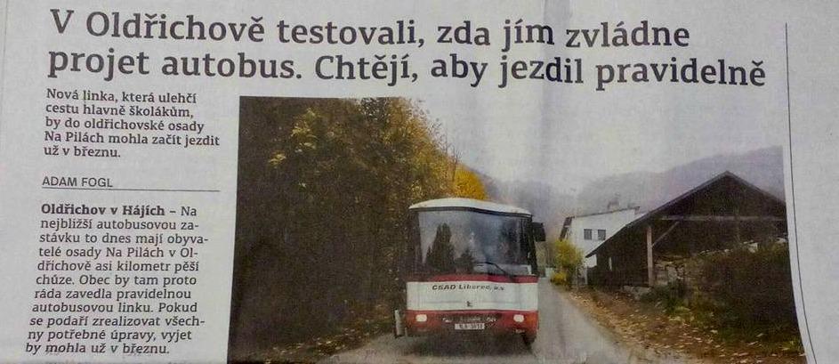 Autobus na Pily – článek v tisku