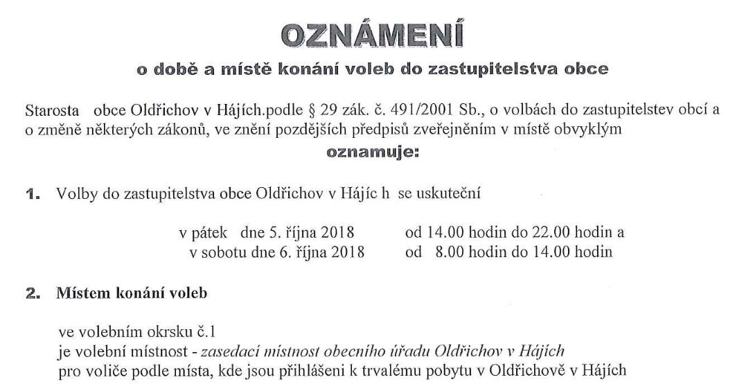 Oznámení o době konání voleb do zastupitelstva obce