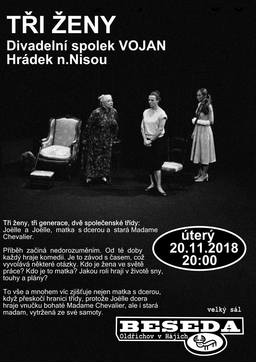 Divadlo v Besedě – Tři ženy (úterý 20.11.2018)