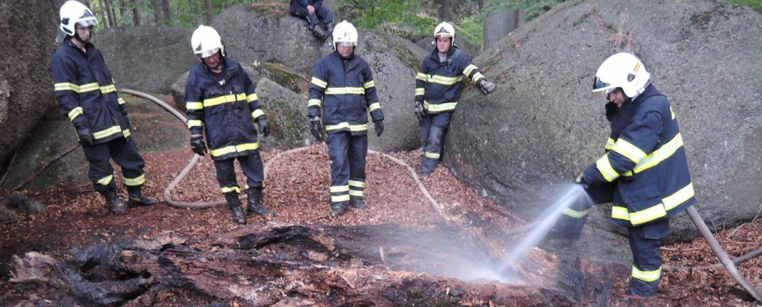 Oldřichovští hasiči zasahují při požáru lesa Měděnec