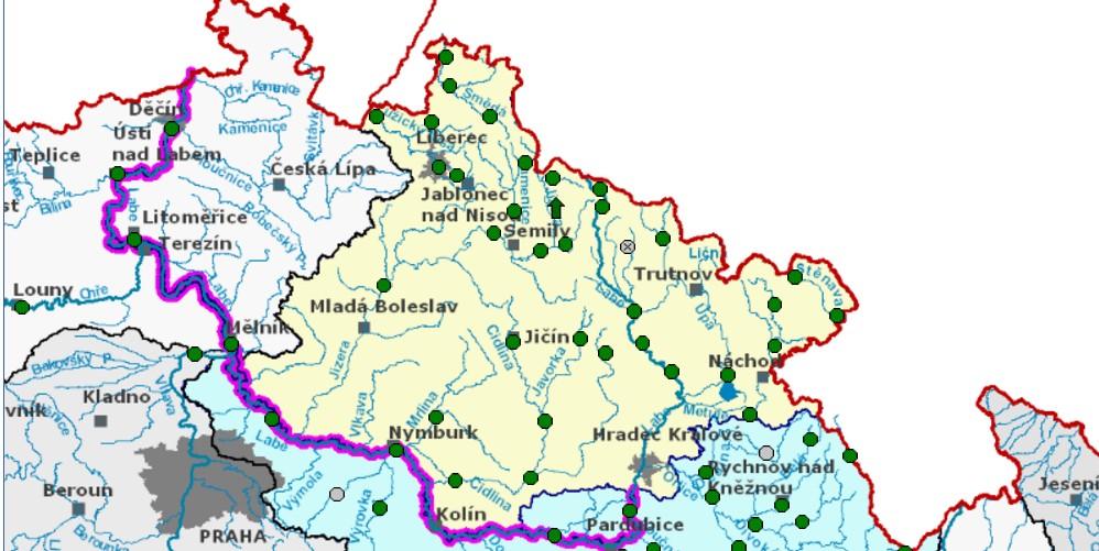 Mapa povodí s informací o stavu toků