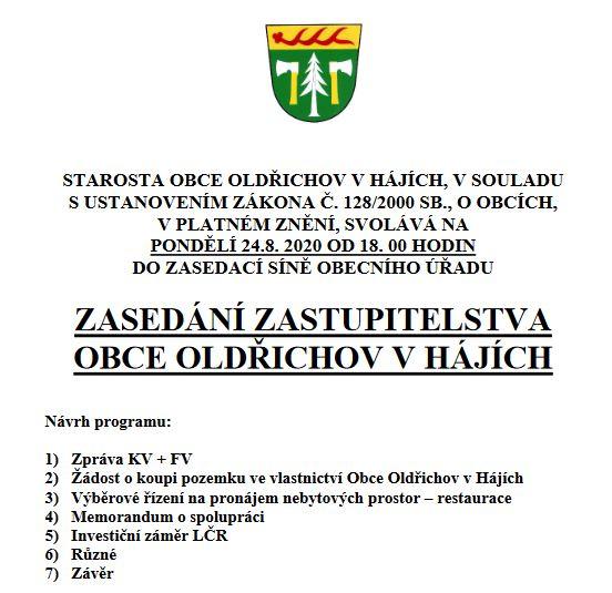 ZASEDÁNÍ ZASTUPITELSTVA OBCE DNE 24.8.2020